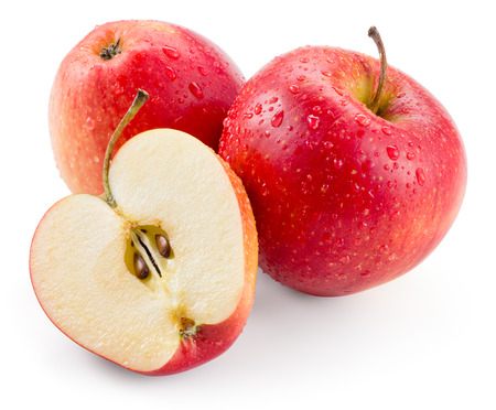 Photo for Red apple. Fruit with drops isolated. With clipping path - Royalty Free Image