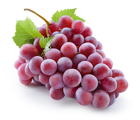 Foto für Grape. Red grape with leaves isolated on white. With clipping path. Full depth of field. - Lizenzfreies Bild