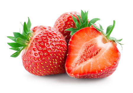 Photo for Strawberry. Fresh raw three berries with a cut isolated on white - Royalty Free Image