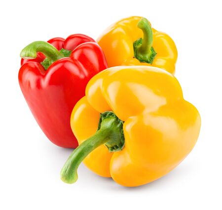 Photo for Peppers. Paprika. Bell pepper. Sweet pepper isolated on white. With clipping path. - Royalty Free Image