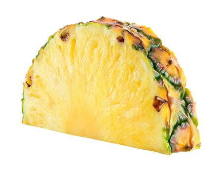 Foto de Pineapple slice isolated. Pineapple on white background. With clipping path. Full depth of field. - Imagen libre de derechos