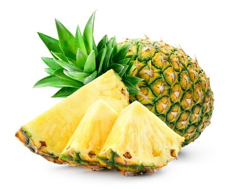 Foto de Whole pineapple and pineapple slice. Pineapple with leaves isolate on white. Full depth of field. - Imagen libre de derechos