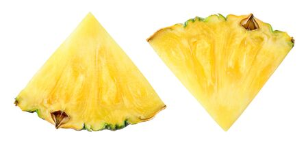 Pineapple slice top view. Pineapple isolated on white. Pineapples with clipping path.