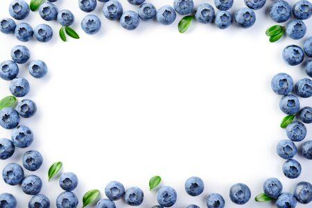 Blueberry frame on white