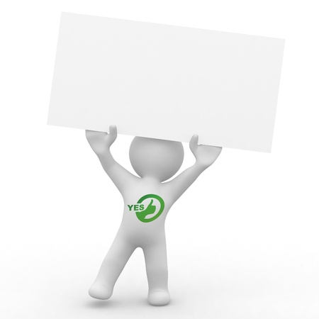 cute person with blank card with yes written on him in green