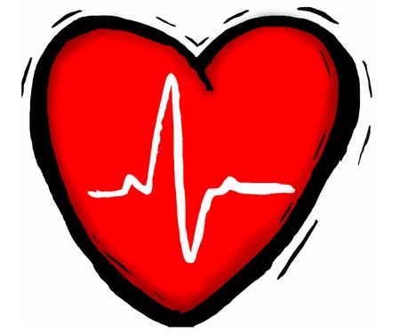 medical heart showing a heart beat reading in centre