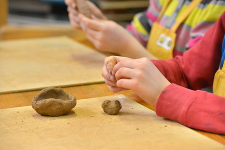 Clay in child hands