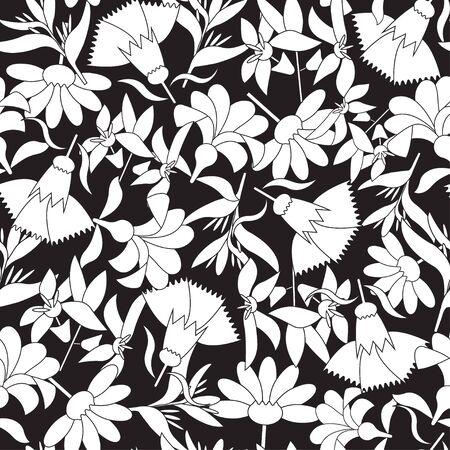 Illustration pour Vector black and white linear floral seamless pattern. - image libre de droit