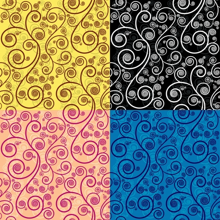 Seamless repeat illustration pattern in 4 different color