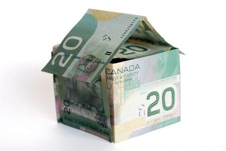 Canadian money house on white background