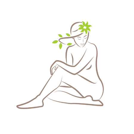 Illustration of a silhouette of a seated woman with leaves in her hair
