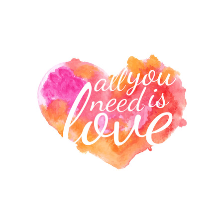 Beautiful watercolor heart with quotes love.Vector