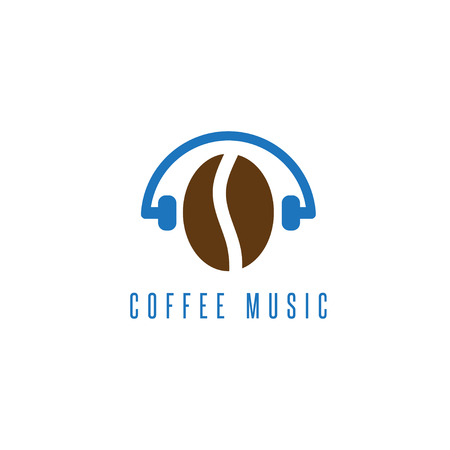 headphones with coffee bean vector design template