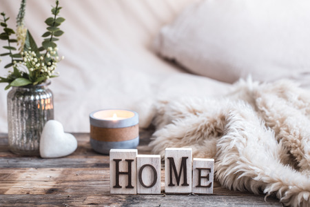 Photo pour still life homely atmosphere in the interior with home decor items, the concept of comfort and coziness - image libre de droit
