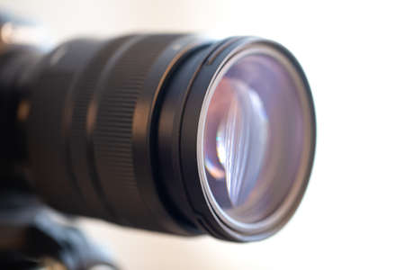 Photo pour Close up lens of a professional lens for a digital camera. The concept of professional equipment for working with photo and video. - image libre de droit