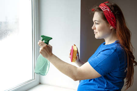 Photo pour A beautiful pregnant woman in the last months of pregnancy is engaged in cleaning and washes the windows. - image libre de droit