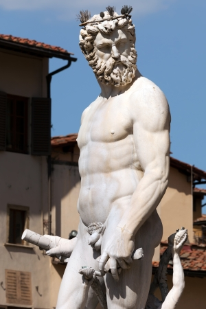 Statue of Neptune in the Fountain of Neptune  1565  by Bartolomeo Ammannati in Florence, Italy