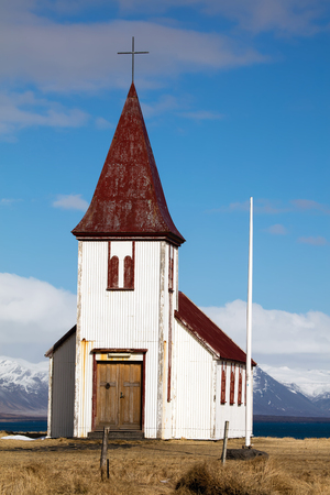 Church in the ancient fishing village of Hellnar, on the Snaefellsnes peninsula in Iceland.
