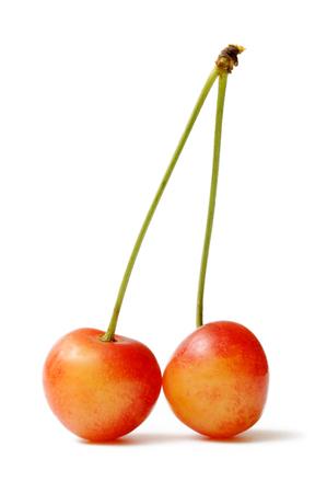 Freshly rainer cherry on a white background.