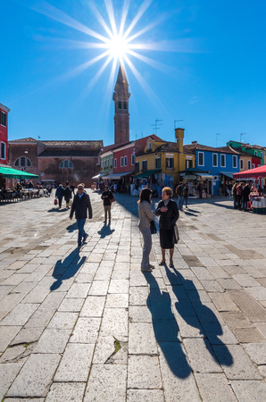 Venice, Italy - 21 October 2016 - Burano, the town of a thousand colors, an enchanted island in the heart of the Venice lagoon