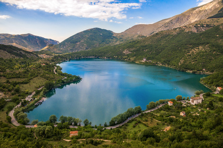 Lake Scanno (L'Aquila, Italy) - When nature is romantic: the heart-shaped lake on the Apennines mountains, in the Abruzzo region, central Italy