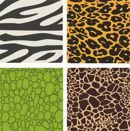 Set of 4 animal skin patterns - zebra, leopard ,crocodile and giraffe