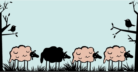 Funny sheep black and white Vector illustration.
