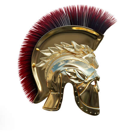 Photo for 3D rendering of an ancient Greek helmet isolated on white background - Royalty Free Image
