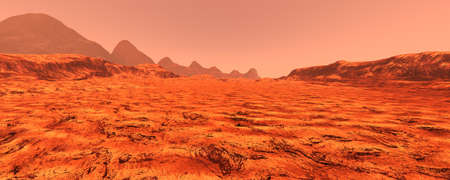 Foto de 3D rendering of a red planet Mars landscape - Imagen libre de derechos