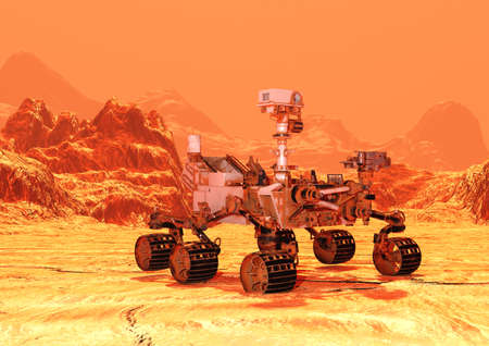 Photo for 3D rendering of a Mars rover space vehicle on a red planet landscape background - Royalty Free Image