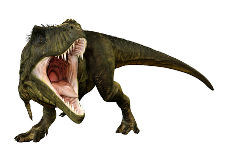 Foto de 3D rendering of a dinosaur Tyrannosaurus Rex isolated on white background - Imagen libre de derechos