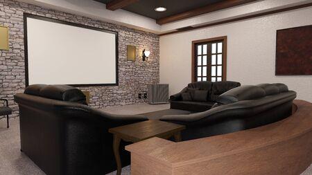 Photo pour 3D rendering of a home theater interior - image libre de droit