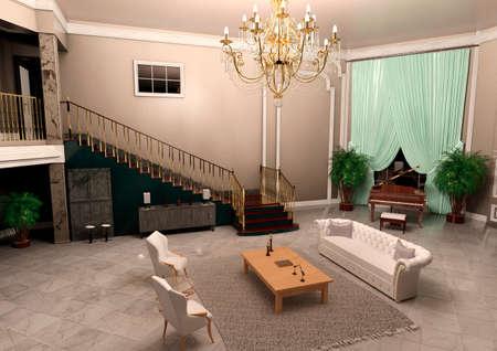 Photo pour 3D rendering of a luxury big foyer interior - image libre de droit