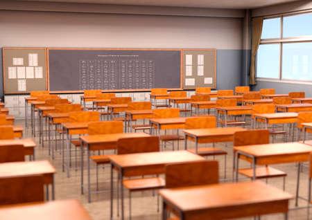 Photo pour 3D rendering of a Japanese classroom interior - image libre de droit