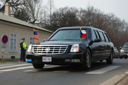 PRAGUE - 4TH APRIL 2009: American president Barack Obama leaves Prague Castle in his car after his speech at Prague Castle during his visit on 4th April in Prague, Czech Republic.