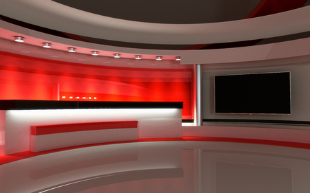 Photo for Tv Studio. News studio. The perfect backdrop for any green screen or chroma key video or photo production. 3d render. 3d visualisation - Royalty Free Image