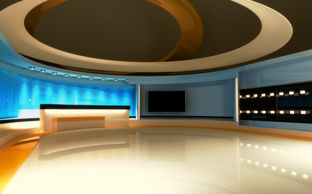 Foto de Tv Studio. News studio. The perfect backdrop for any green screen or chroma key video or photo production. 3d render. 3d visualisation - Imagen libre de derechos