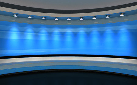 Photo for Blue Studio. Blue wall with light. Blue background. Blue back drop. 3d rendering - Royalty Free Image