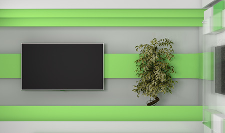 Tv Studio. Backdrop for TV shows .TV on wall. News studio. The perfect backdrop for any green screen or chroma key video or photo production. 3d render. 3d visualisation