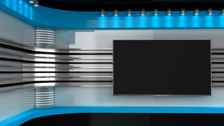 Photo for Tv Studio.Backdrop for TV shows .TV on wall. News studio. The perfect backdrop for any green screen or chroma key video or photo production. 3D rendering. - Royalty Free Image