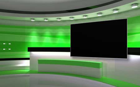 Foto de Green Studio. Green wall with light. Green background. Green back drop. 3d rendering - Imagen libre de derechos