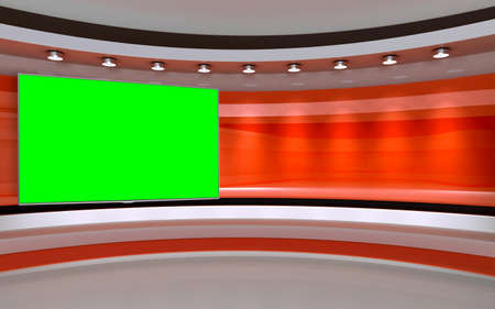 Foto de Tv Studio. Backdrop for TV shows .TV on wall. News studio. The perfect backdrop for any green screen or chroma key video or photo production. 3D rendering. - Imagen libre de derechos