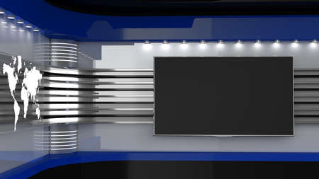 Photo for Tv Studio. Blue studio. Backdrop for TV shows. TV on wall. News studio. The perfect backdrop for any green screen or chroma key video or photo production. 3D rendering. - Royalty Free Image