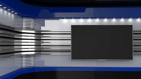 Foto de Tv Studio. Blue studio. Backdrop for TV shows. TV on wall. News studio. The perfect backdrop for any green screen or chroma key video or photo production. 3D rendering. - Imagen libre de derechos