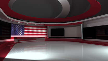 Photo for TV studio. USA flag studio. American flag background. News studio. The perfect backdrop for any green screen or chroma key video or photo production. 3d render. 3d - Royalty Free Image