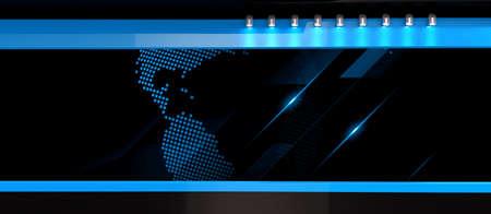 Photo pour Tv Studio. Blue studio News studio. The perfect backdrop for video or photo production. 3D rendering - image libre de droit
