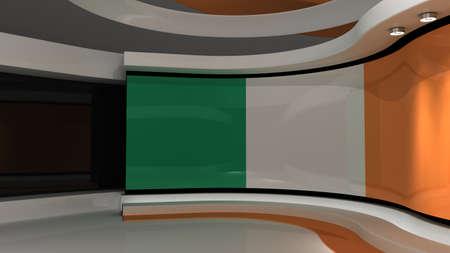 Foto de Ireland. Irish flag. TV studio. News studio. Loop animation. Background for any green screen or chroma key video production. 3d render. 3d - Imagen libre de derechos