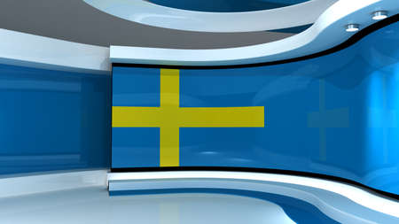 Photo for Sweed flag background. TV studio. News studio. The perfect backdrop for any green screen or chroma key video or photo production. 3d render. 3d - Royalty Free Image