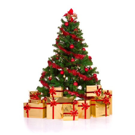 Isolated christmas tree, over white background