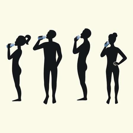 Ilustración de Silhouettes of people drinking water. Silhouettes of men and women. - Imagen libre de derechos